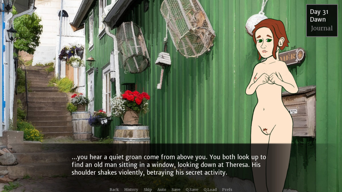 "An image of Theresa, naked and nervous, in a back alley of a fishing town. Narration reads, ""...you hear a quiet groan come from above you. You both look up to find an old man sitting in a window, looking down at Theresa. His shoulder shakes violently, betraying his secret activity."""