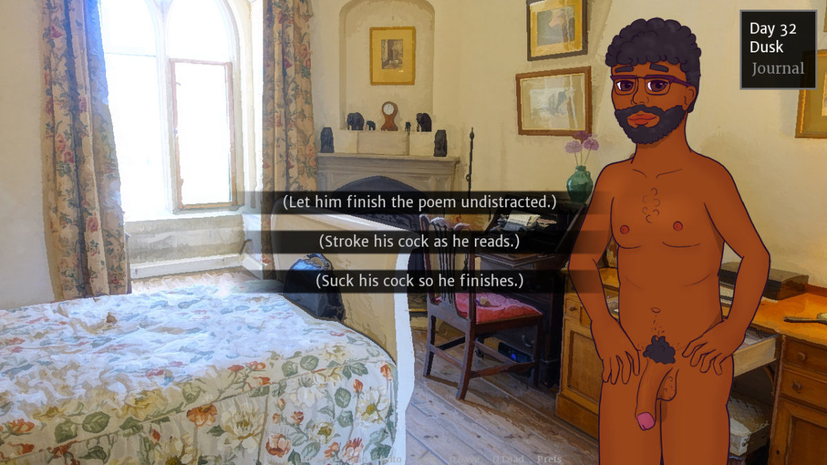 Arthur naked in a bedroom. A menu provides the options 'Let him finish his poem undistracted.', 'Stroke his cock as he reads.', and 'Suck his cock so he finishes.'