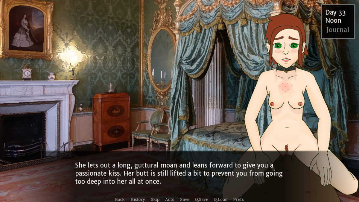A picture of Theresa in a collar, riding the main character's cock. Narration reads 'She lets out a long, guttural moan and leans forward to give you a passionate kiss. Her butt is still lifted a bit to prevent you from going too deep into her all at once.'