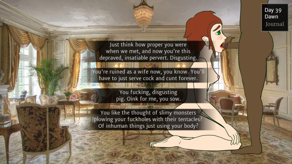 Theresa on her knees sucking cock, with a series of dialog options: 'Just think how proper you were when we met, and now you're this depraved, insatiable pervert. Disgusting.' 'You're ruined as a wife now, you know. You'll have to just serve cock and cunt forever.' 'You fucking, disgusting pig. Oink for me, you sow.' 'You like the thought of slimy monsters plowing your fuckholes with their tentacles? Of inhuman things just using your body?'