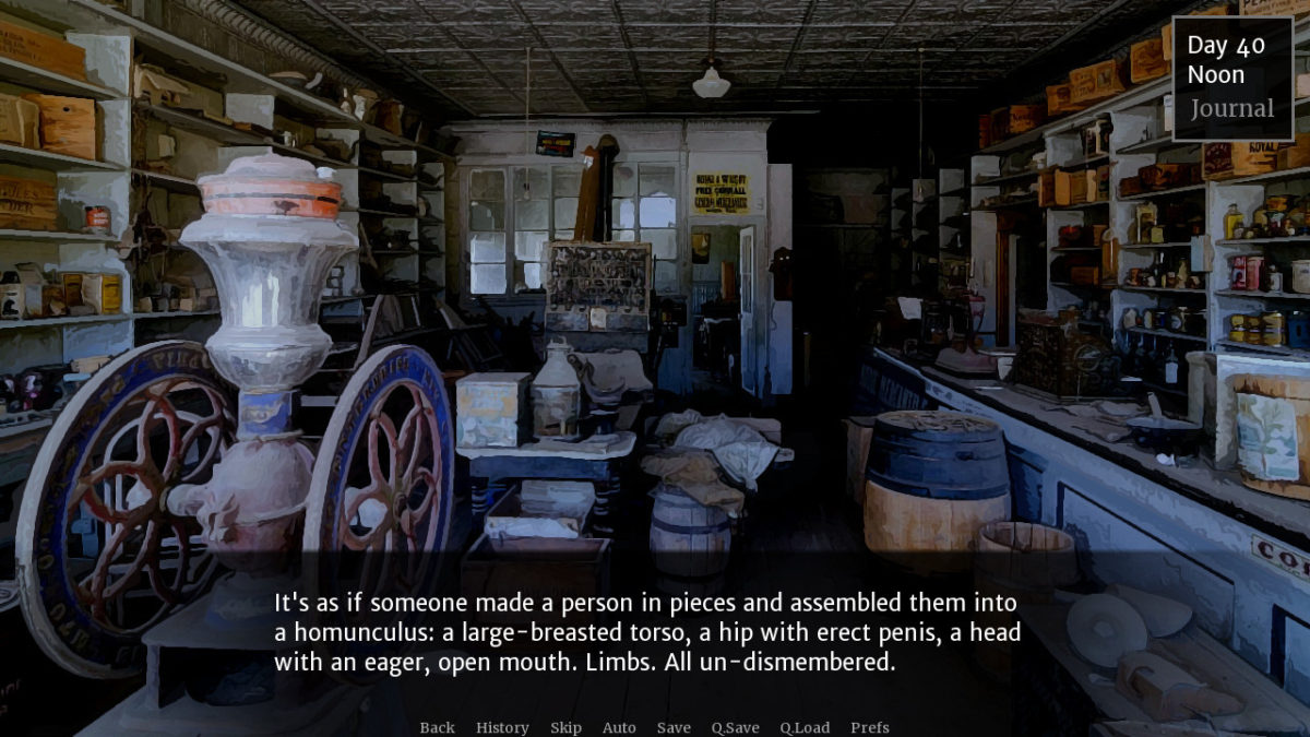 A picture of an abandoned store with the narration, 'It's as if someone made a person in pieces and assembled them into a homunculus: a large-breasted torso, a hip with erect penis, a head with an eager, open mouth. Limbs. All un-dismembered.'