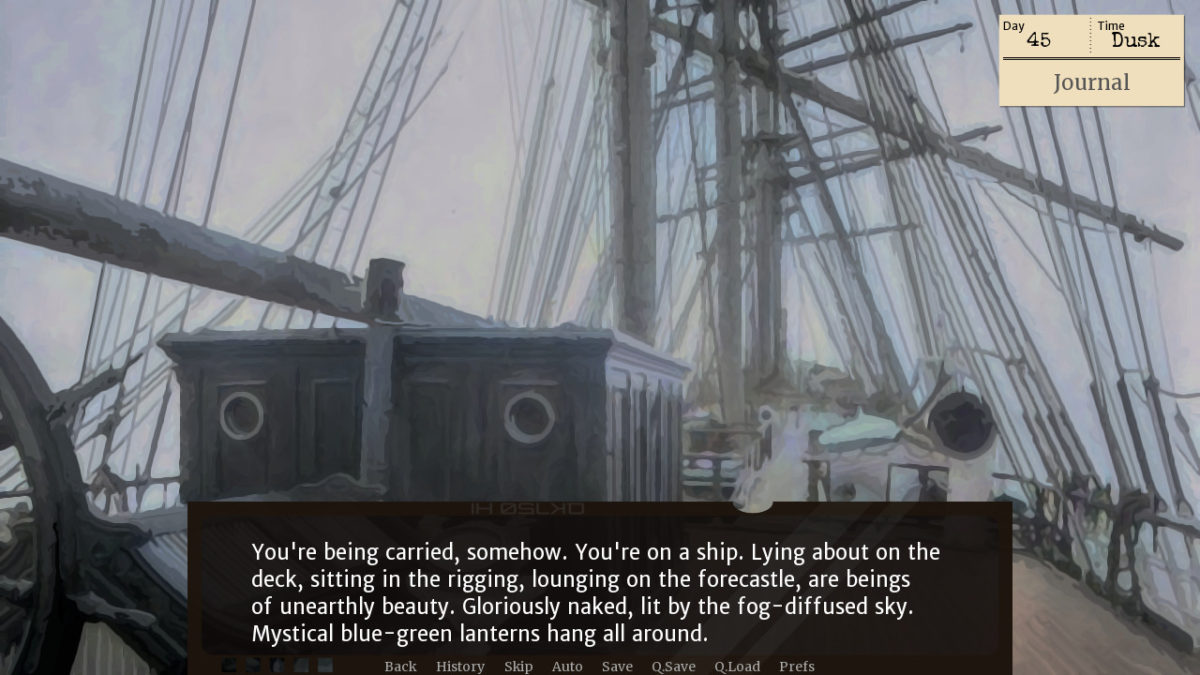 An image of the deck of a ship with the narration 'You're being carried, somehow. You're on a ship. Lying about on the deck, sitting in the rigging, lounging on the forecastle, are beings of unearthly beauty. Gloriously naked, lit by the fog-diffused sky. Mystical blue-green lanterns hang all around.'